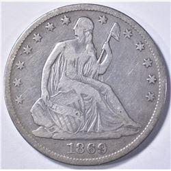 1869-S SEATED HALF DOLLAR, FINE