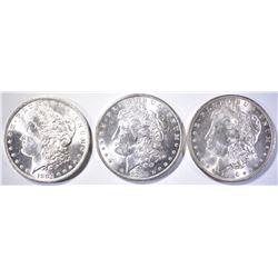 1883-O, 84-O & 96 MORGAN DOLLARS, CH BU