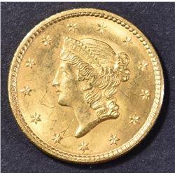 1849 $1 GOLD OPEN WREATH CH/GEM BU
