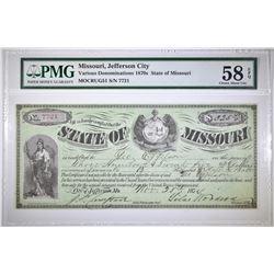 1870'S STATE OF MISSOURI PMG 58 EPQ