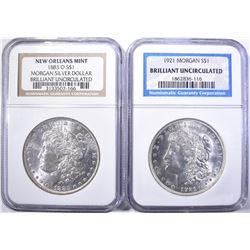 (2) MORGAN DOLLARS: (1) 1883-O NEW