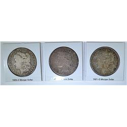 (3) COINS: 1889-0 MORGAN DOLLAR F,