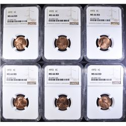 (6) 1972 LARGE DATE NGC MS 66 RD LINCOLN CENTS