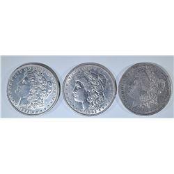 (3) MORGAN DOLLARS: 1882 & 1885 XF AU,
