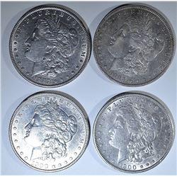 (4) MORGAN DOLLARS AU+: 1888-0,1887,