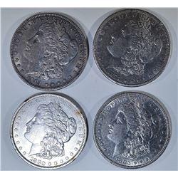 (4) MORGAN DOLLARS AU+: 1880, 1883,