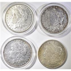 (4) AU MORGAN DOLLARS: (2) 1882-O,