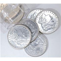 (7) AU MORGAN DOLLARS:  1880-S,1883-O,