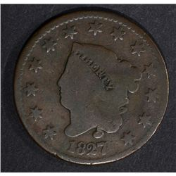 1827 LARGE CENT CHOICE GOOD N-6