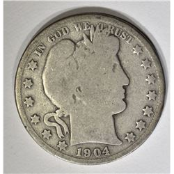 1904-S BARBER HALF DOLLAR, GOOD