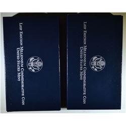 2-2000 LEIF ERICSON MILLENIUM PROOF COMMEM DOLLARS
