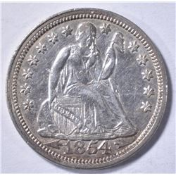 1854 ARROW AT DATE LIBERTY SEATED DIME AU