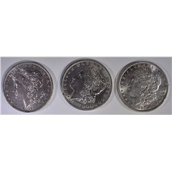 (3) MORGAN DOLLARS: 1887, 1896, 1898