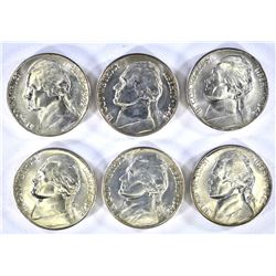 6-BU 1942-S SILVER JEFFERSON NICKELS