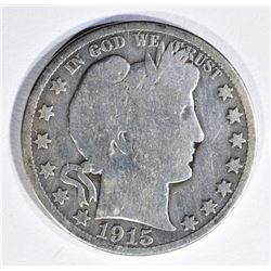 1915 BARBER HALF DOLLAR, GOOD