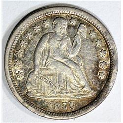 1859-O SEATED DIME, AU/BU