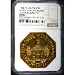 1954 CA HK-704 SO CALLED DOLLAR, NGC MS-62