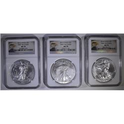 2012, 23 & 14 AMERICAN SILVER EAGLES, NGC MS-70