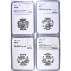 4-NGC GRADED WASHINGTON QUARTERS: