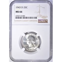 1943-D WASHINGTON QUARTER, NGC MS-66