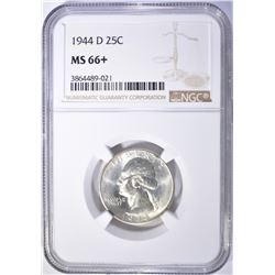 1944-D WASHINGTON QUARTER, NGC MS-66+