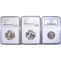 3-NGC GRADED WASHINGTON QUARTERS: