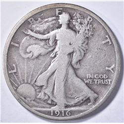 1916 WALKING LIBERTY HALF DOLLAR, VF