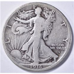 1916-S WALKING LIBERTY HALF DOLLAR, F/VF