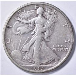 1917-S REVERSE WALKING LIBERTY HALF DOLLAR, XF