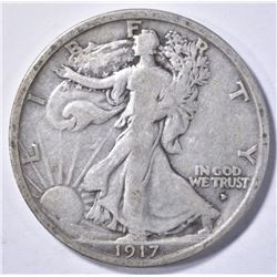 1917-D OBVERSE WALKING LBERTY HALF DOLLAR, VF