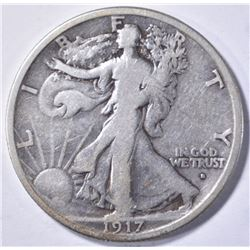 1917-S OBVERSE WALKING LIBERTY HALF DOLLAR, FINE K