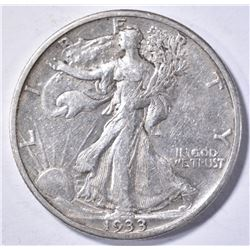 1933-S WALKING LIBERTY HALF DOLLAR, AU