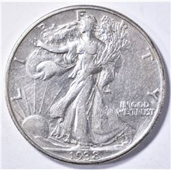 1938-D WALKING LIBERTY HALF DOLLAR, AU KEY DATE