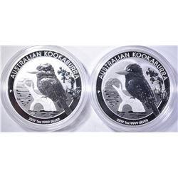 2-2019 AUSTRALIAN 1oz SILVER KOOKABURRA COINS