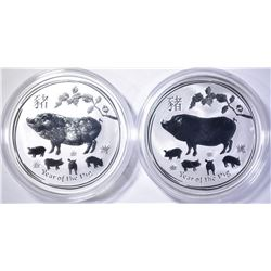 2-2019 AUSTRALIAN 1oz SILVER YEAR OF THE PIG COINS