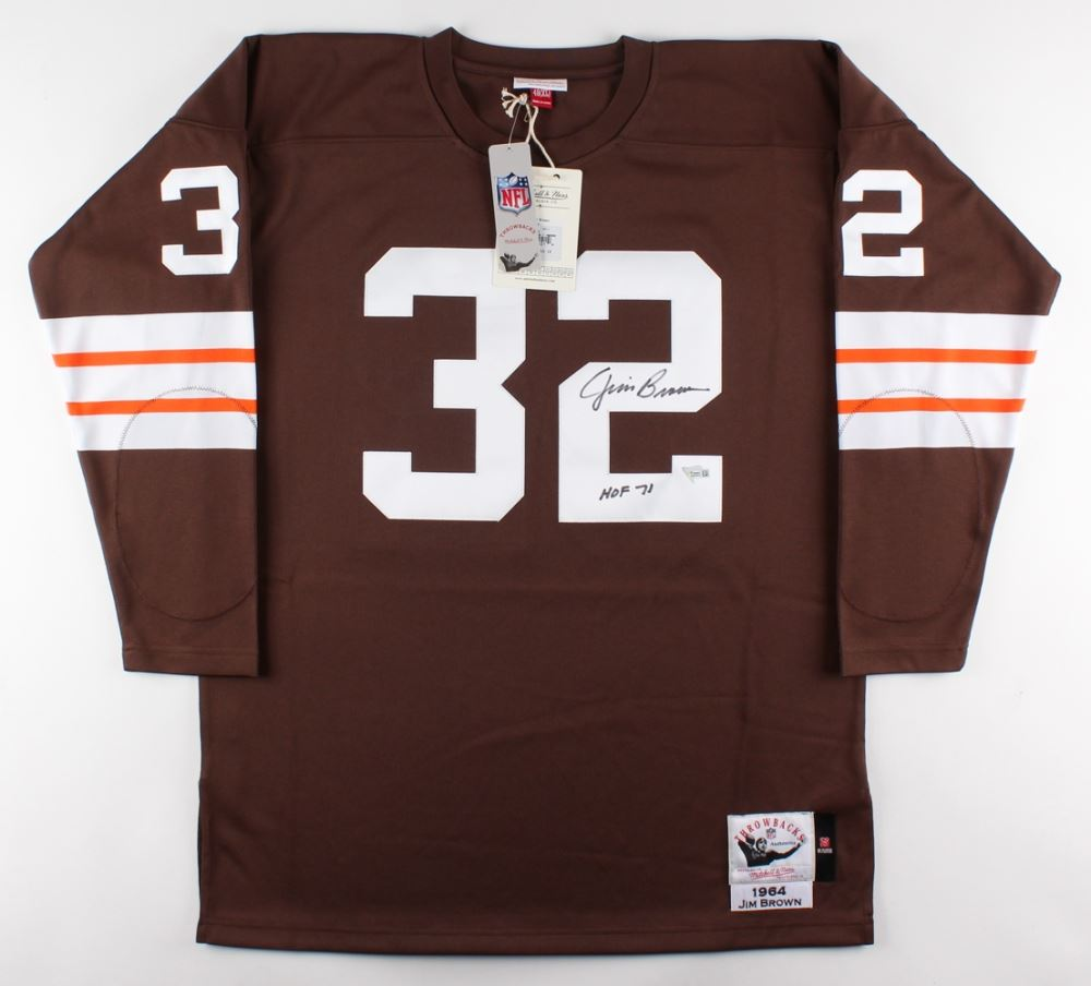 the best attitude 859a6 4068c Jim Brown Signed Browns Jersey Inscribed