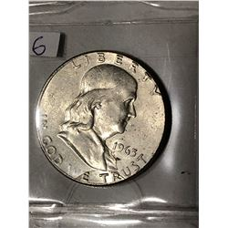 1963 P High Grade Silver Franklin Half Dollar Nice Early US Coin