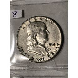 1961 D High Grade Silver Franklin Half Dollar Nice Early US Coin