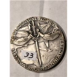 Large 1965 St Augustine Florida Signed and Numbered Medal