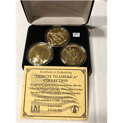 3 Coin 24kt Gold Overlay TRIBUTE to AMERICA in Original Box