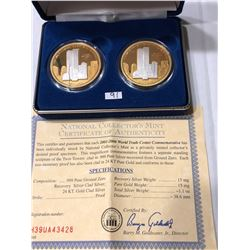 Groun Zero Recovery Twin Tower Coins 24K Gold and 1.1oz Silver