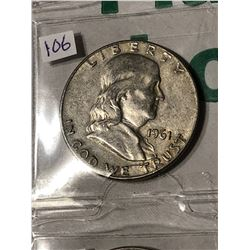 1961 D Silver Franklin Half Dollar Nice Early US Coin