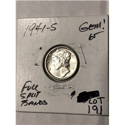 1941 S Full Split Bands GEM65 Mercury Silver Dime High Grade