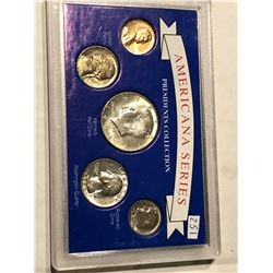 1964 Silver AmericanA Series Coin Set with Half Quarter Dime Nickel and Penny