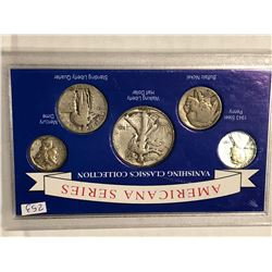 Silver Americana Series Coin Set with Half Quarter Dime Nickel and Penny
