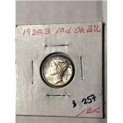 1938 S CHOICE BU Mercury Silver Dime High Grade
