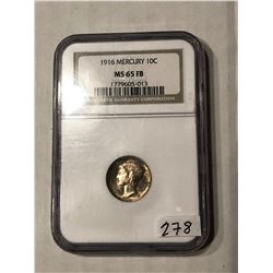 1916 Mercury Dime Certified NGC MS 65 FB
