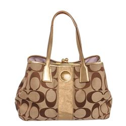 Coach Brown Monogram Canvas Gold Metallic Leather Trim Shoulder Handbag