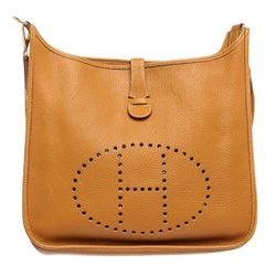 Hermes Gold Ardennes Leather Evelyne I GM Bag