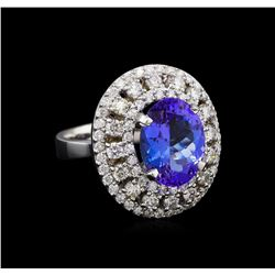 5.12 ctw Tanzanite and Diamond Ring - 14KT White Gold